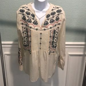 Johnny Was Embroidered Tunic Top S